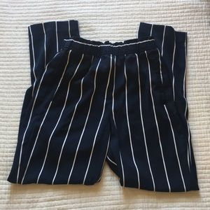 H&M Striped Navy and White Trousers